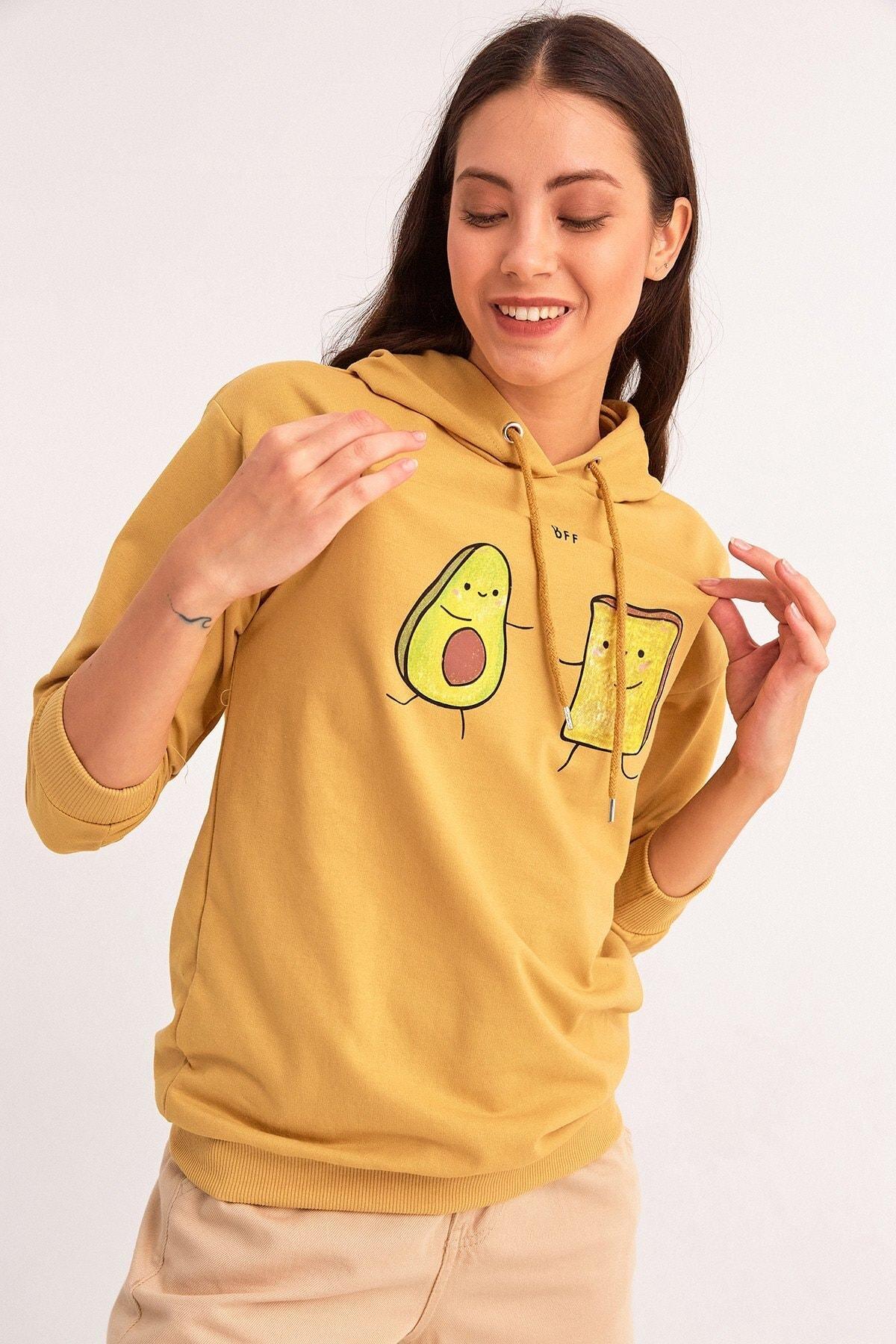 Fulla Moda Avokado Baskılı Kapüşonlu Sweatshirt 1