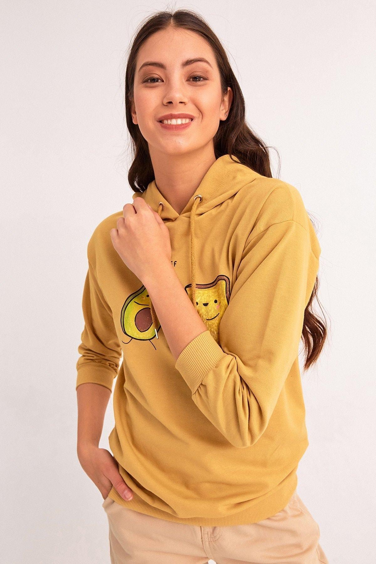 Fulla Moda Avokado Baskılı Kapüşonlu Sweatshirt 2