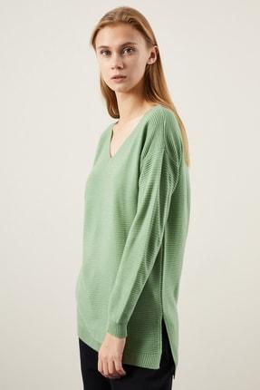 TENA MODA Kadın Mint Yeşili V Yaka Yanı Yırtmaçlı Basic Triko Kazak