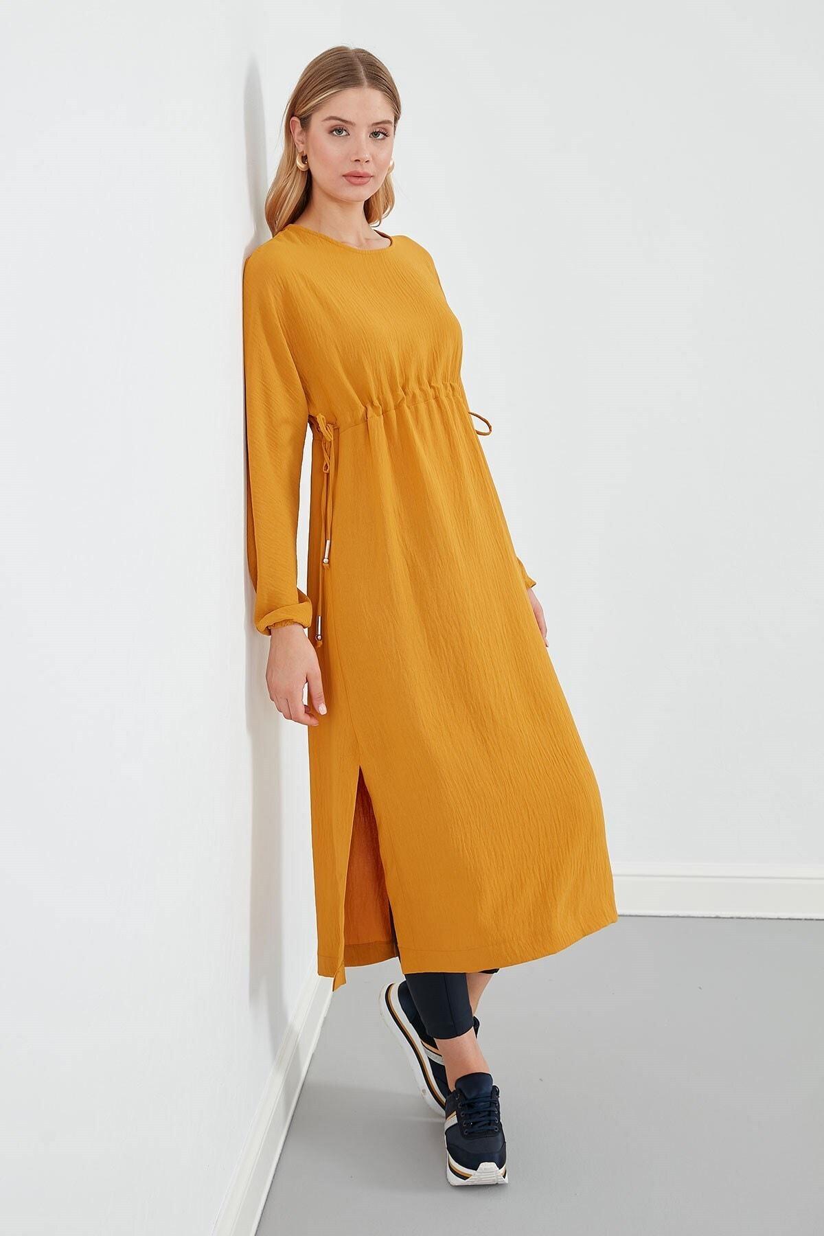 Journey Elbise Sıfır Yaka- Belden Büzgülü, Yanlardan Bağlama Detaylı, Uzun Kol 1