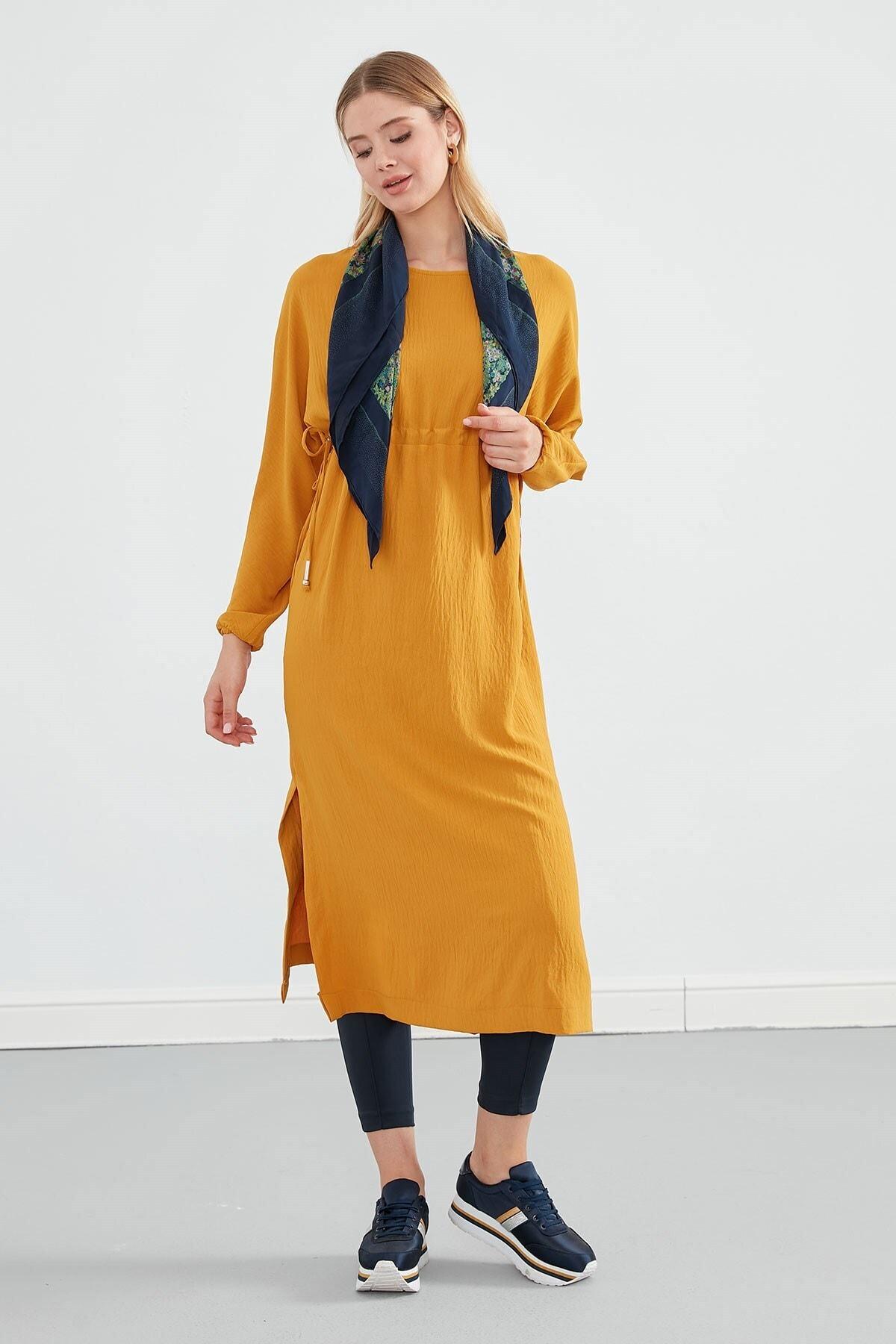 Journey Elbise Sıfır Yaka- Belden Büzgülü, Yanlardan Bağlama Detaylı, Uzun Kol 2