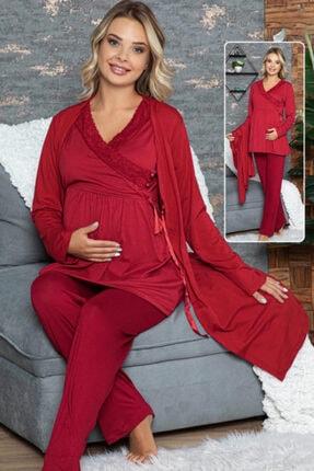 HAYAL Sabahlıklı Lohusa Pijama Takımı Jenika 42353 3lü Sabahlıklı Hamile Pijaması