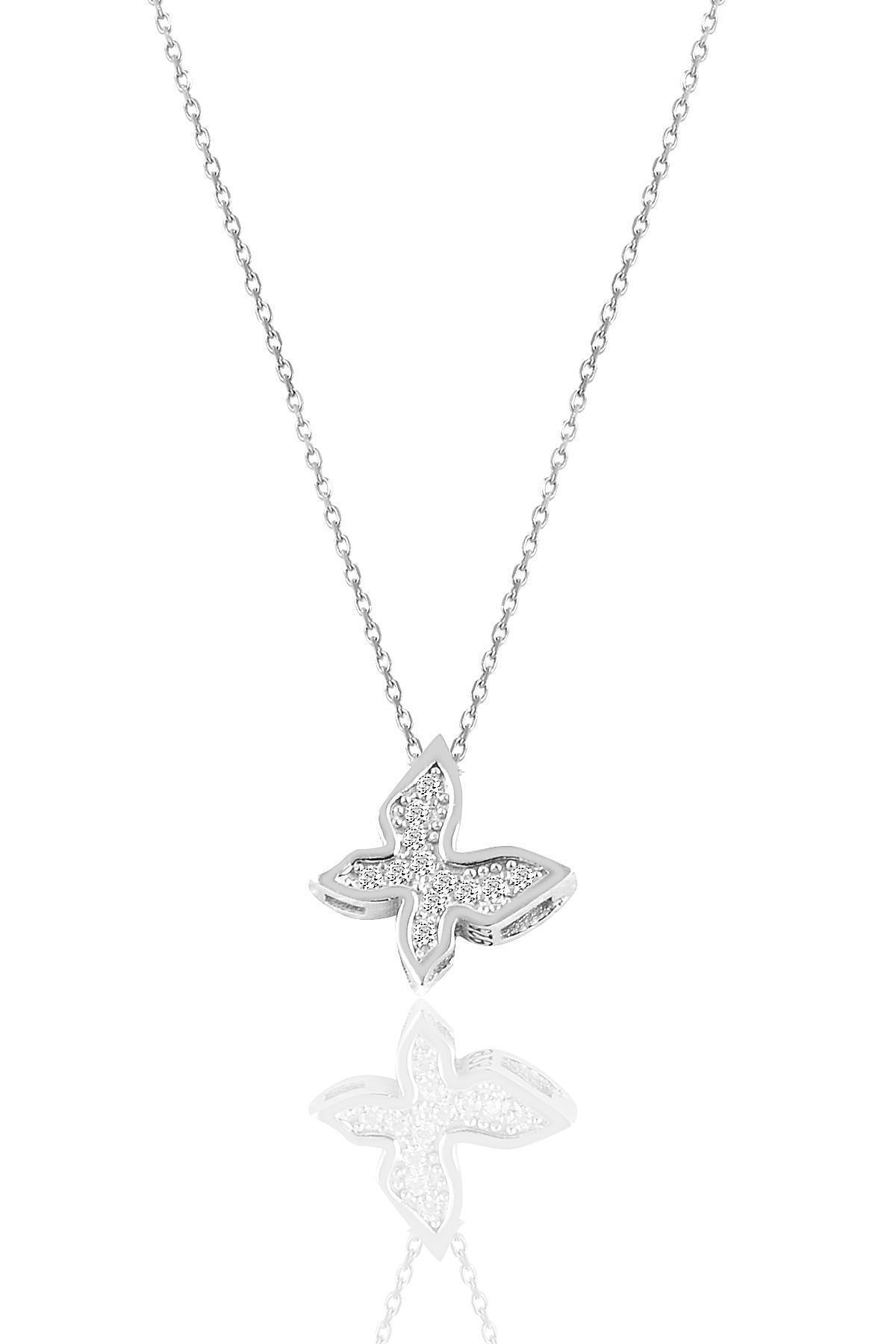 Söğütlü Silver Gümüş Rodyumlu Zirkon Taşlı Kelebek Kolye 1