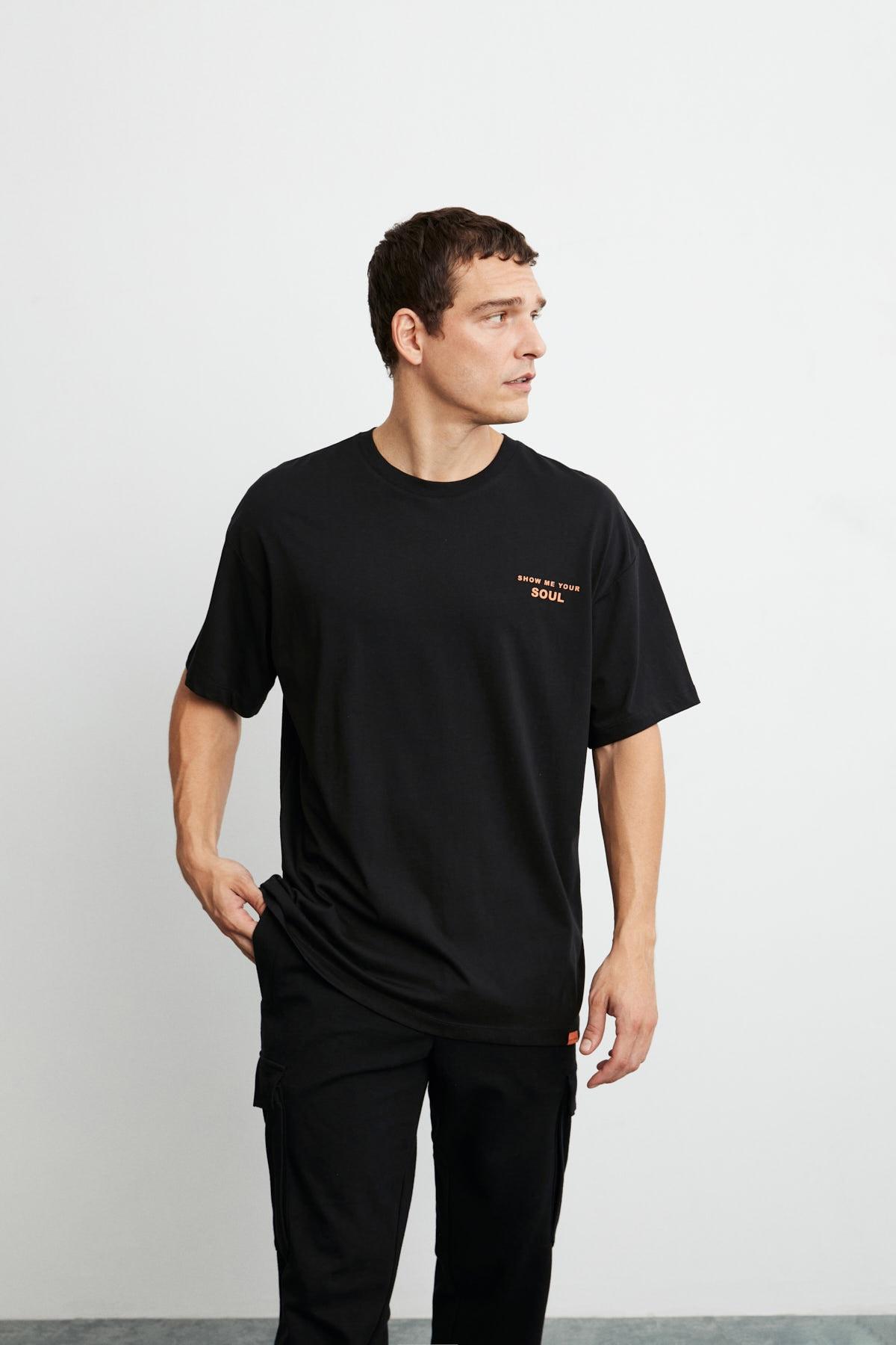 GRIMELANGE Mark Erkek Siyah Önü Ve Arkası Turuncu Baskılı Kısa Kollu Oversize T-shirt 2