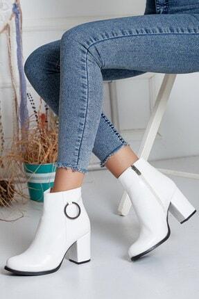 Dilimler Ayakkabı Fermuarlı Kırışık Rugan Beyaz Kadın Topuklu Bot