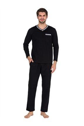 Güneş 5599 Siyah V Yaka Uzun Kollu Erkek Pijama Takımı