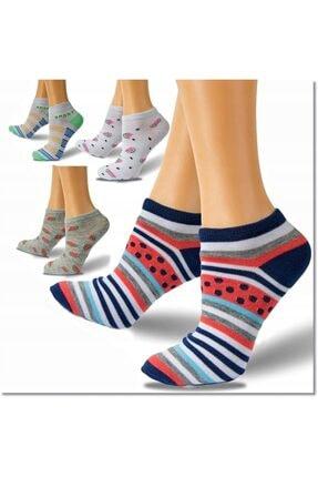 Retro 12 Çift Renkli Karışık Renk Pamuk Bayan Patik Çorap
