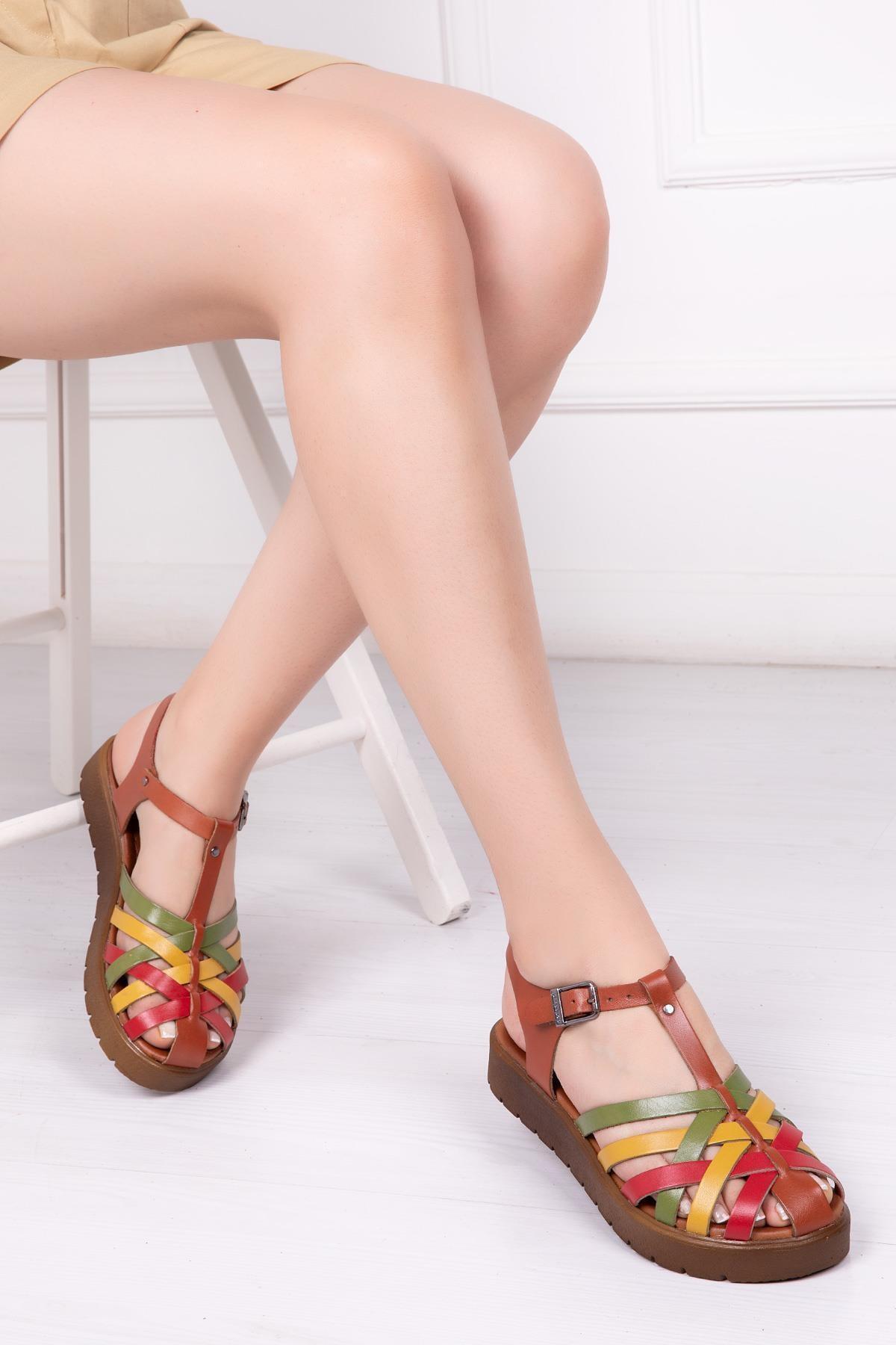Deripabuc Hakiki Deri Multi-1 Kadın Deri Sandalet Dp-0097 1