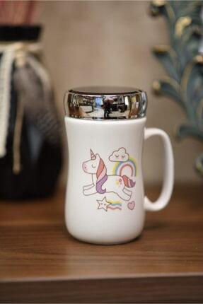 studyosercan2 Unicorn Mug Termos Porselen Bardak Kupa ( Kapaklı ) 375ml