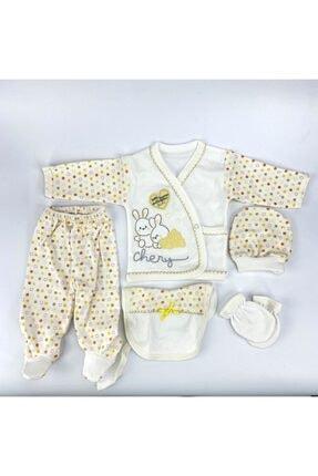 Bambino Yeni Doğan Bebek Sarı Tavşanlı 5'li Hastane Çıkışı Seti