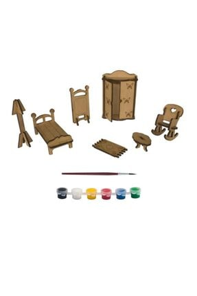 Joy and Toys Jt3 Ahşap Minyatür Ev Eşyaları Boyama Seti (1 Adet), Ham Ahşap Oyuncak Hobi