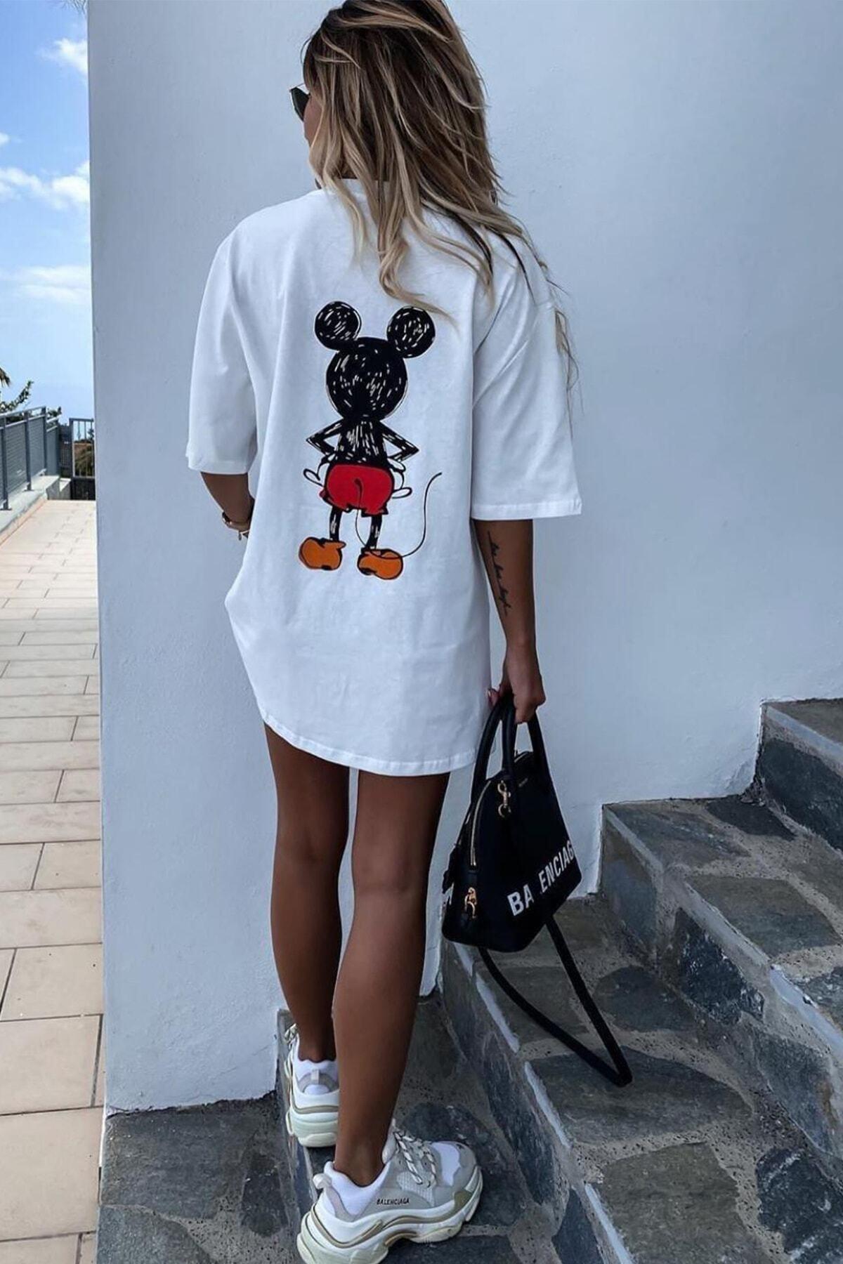 Unique Kadın Beyaz Mikey Mouse T-shirt 2