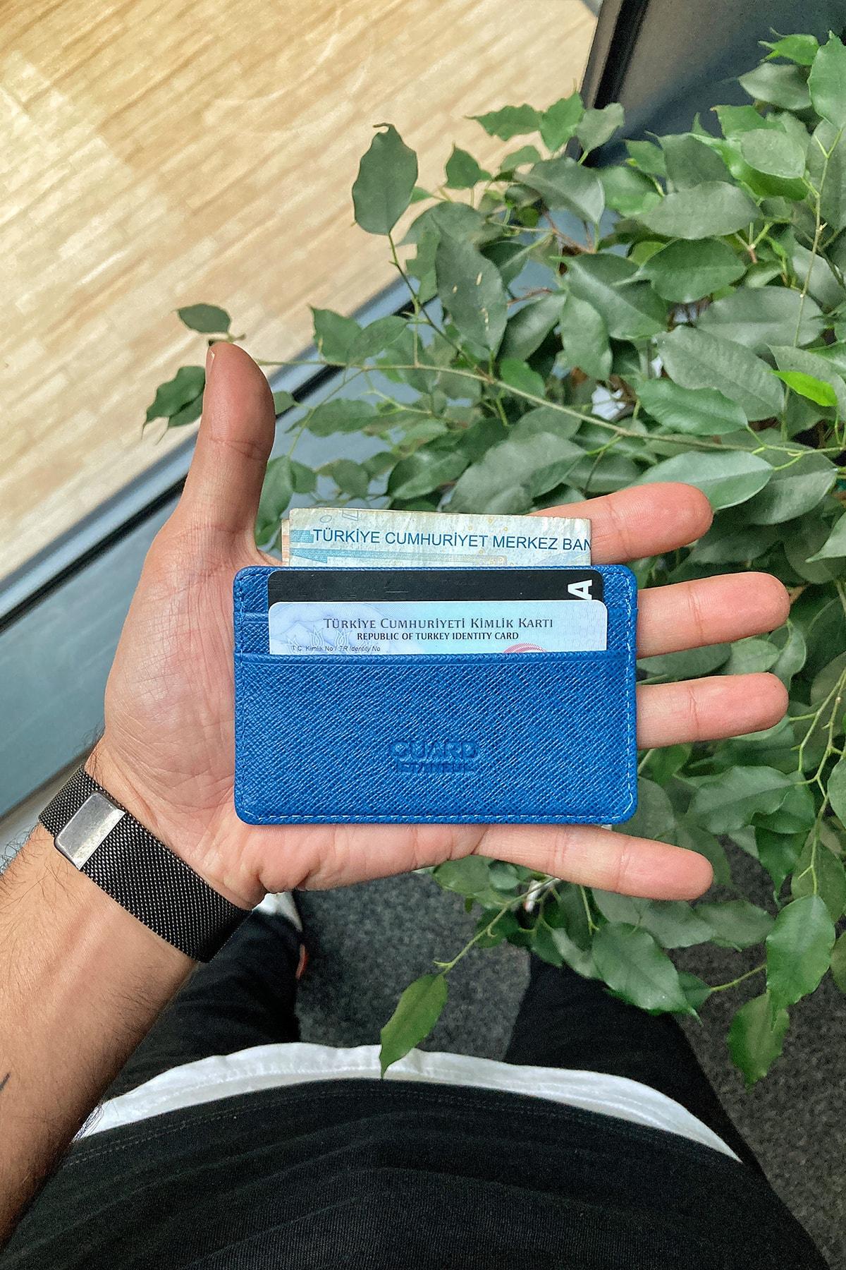 GUARD Hakiki Deri Kartlık - Ultra Küçük / Mavi Saffiano 1