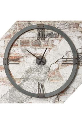 bluecape Doğal Masif Kül Gri Ağaç Antik Metal Roma Rakamlı Duvar Saati 70cm