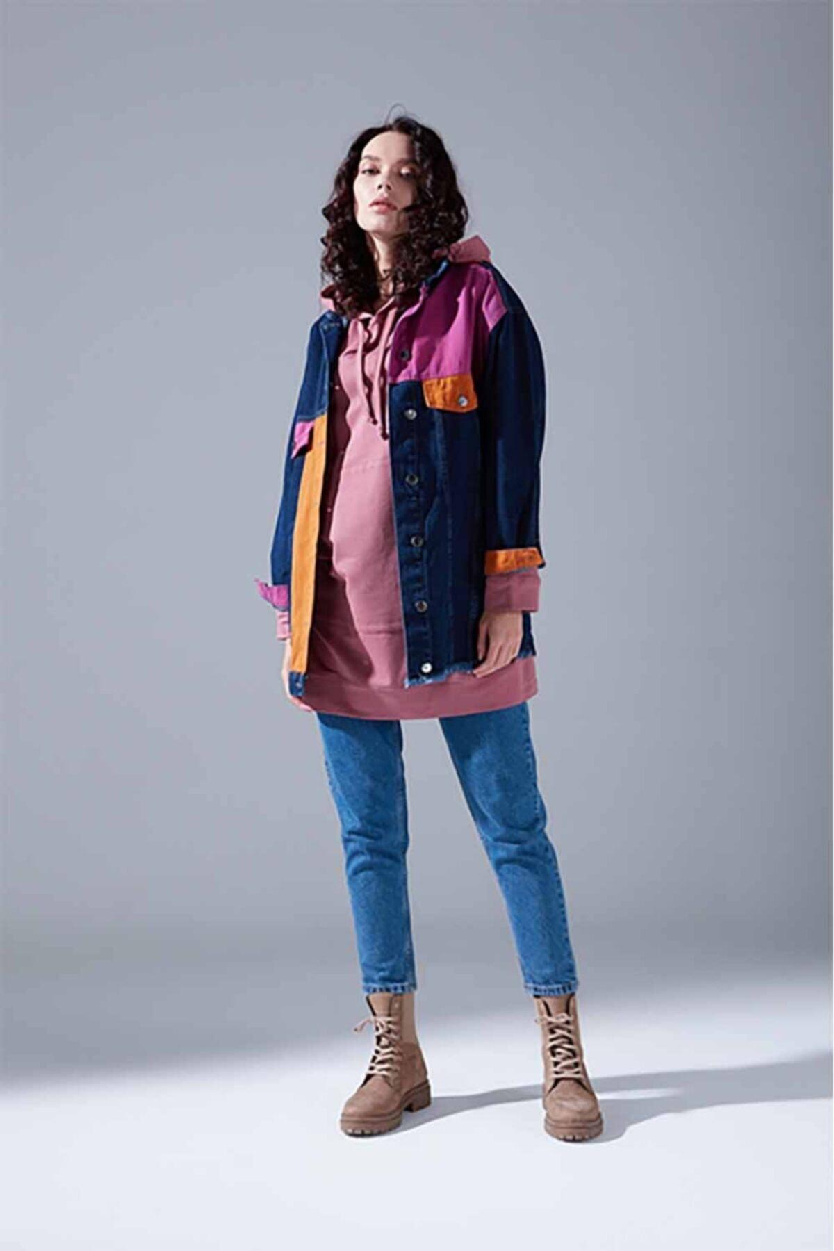Mizalle Youth Parçalı Denim Ceket (Indigo) 2