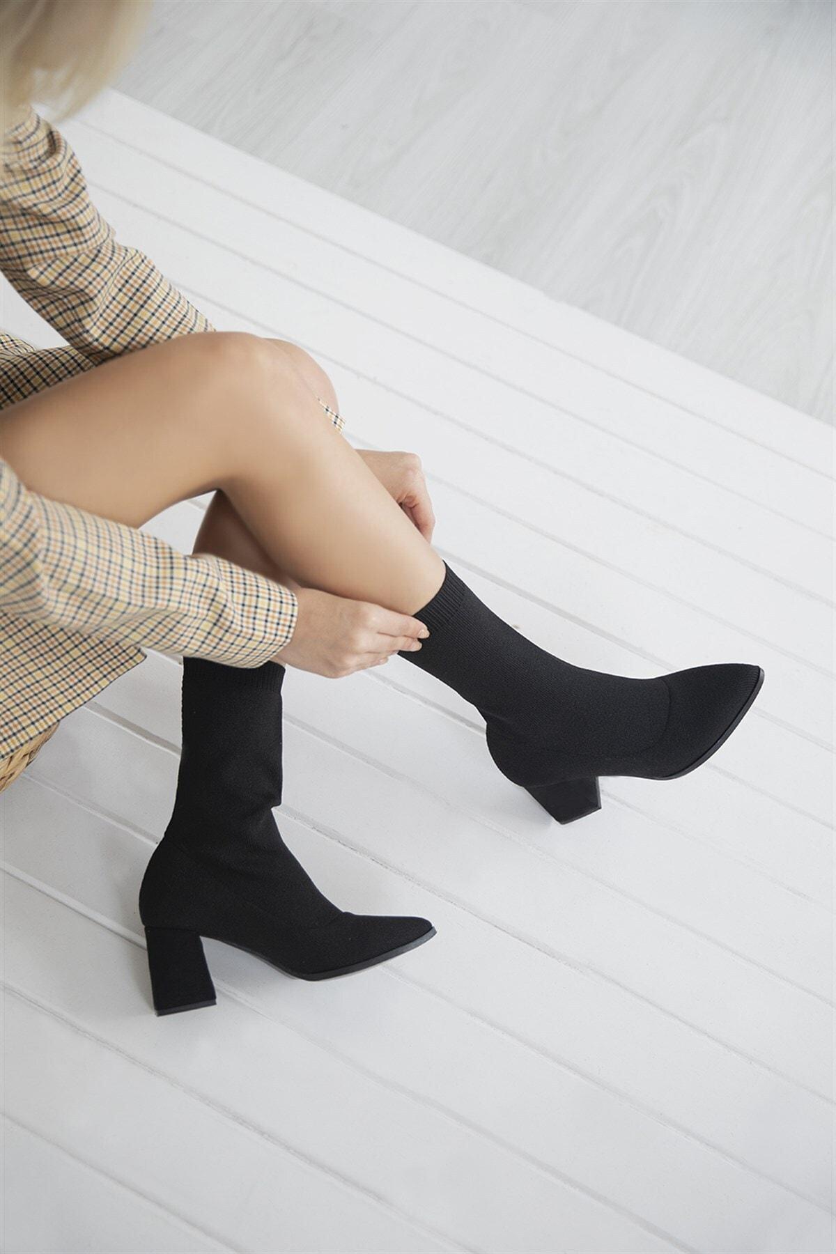 STRASWANS Foster Kadın Topuklu Streç Triko Bot Siyah 1