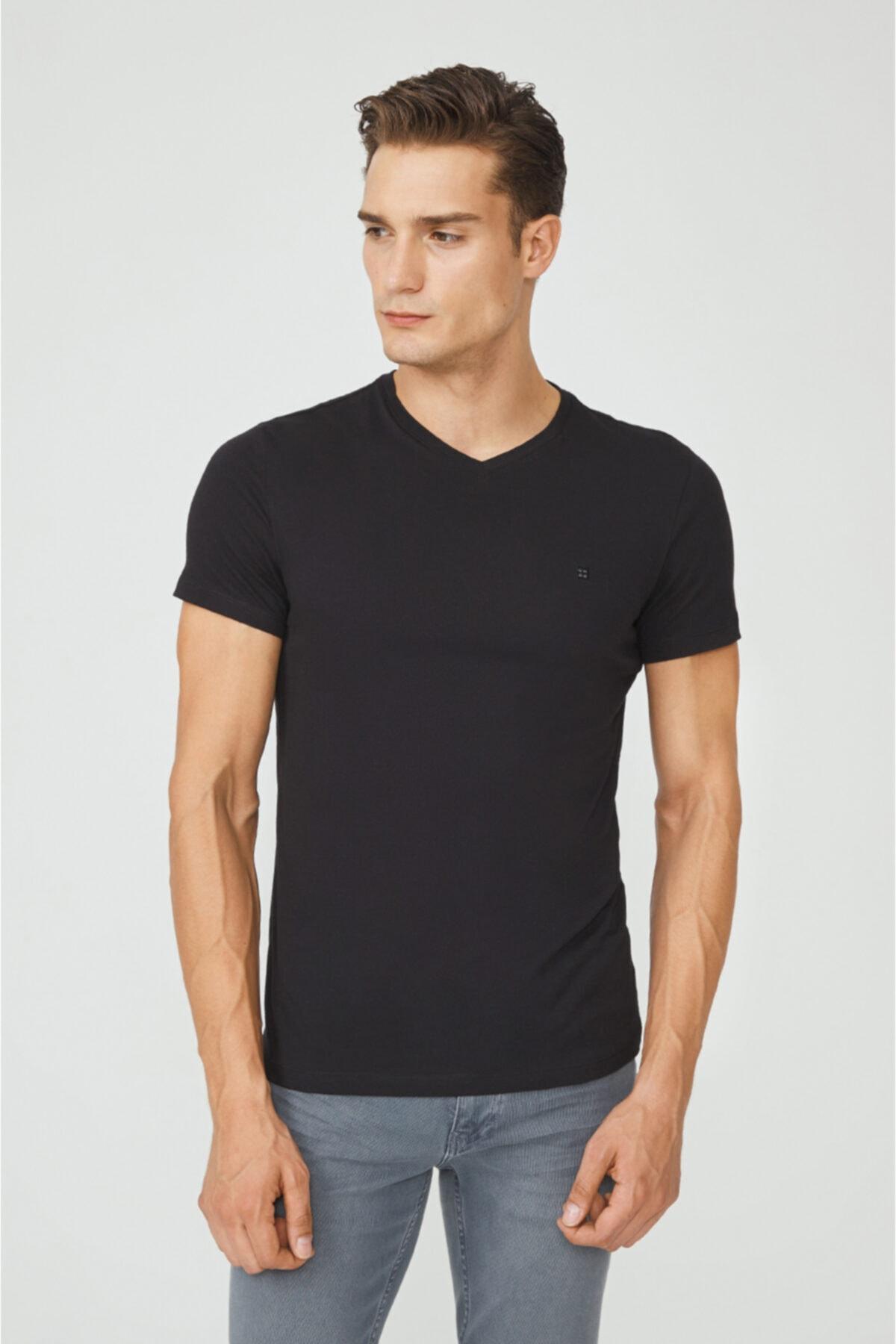 Avva Erkek Siyah V Yaka Düz T-shirt E001001 1