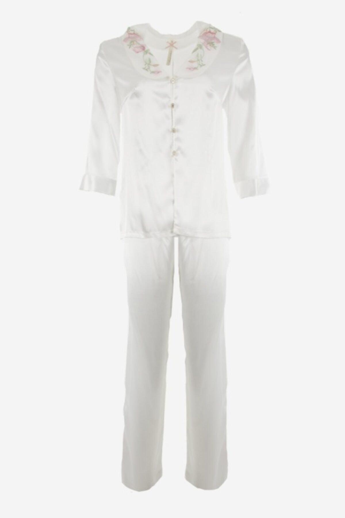 Karmen Nakış Detaylı Saten Pijama Takımı 2