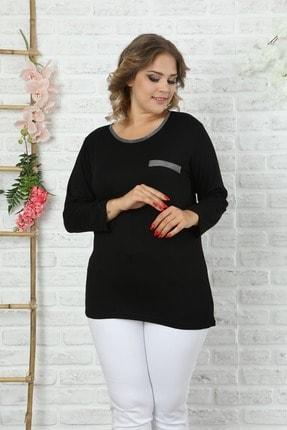 EGZ BUTİK Kadın Büyük Beden Siyah Yakası Ve Cep Kısmı Detaylı Bluz