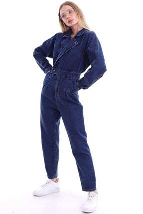 Elbee Mavi Jeans Kot Kadın Tulum