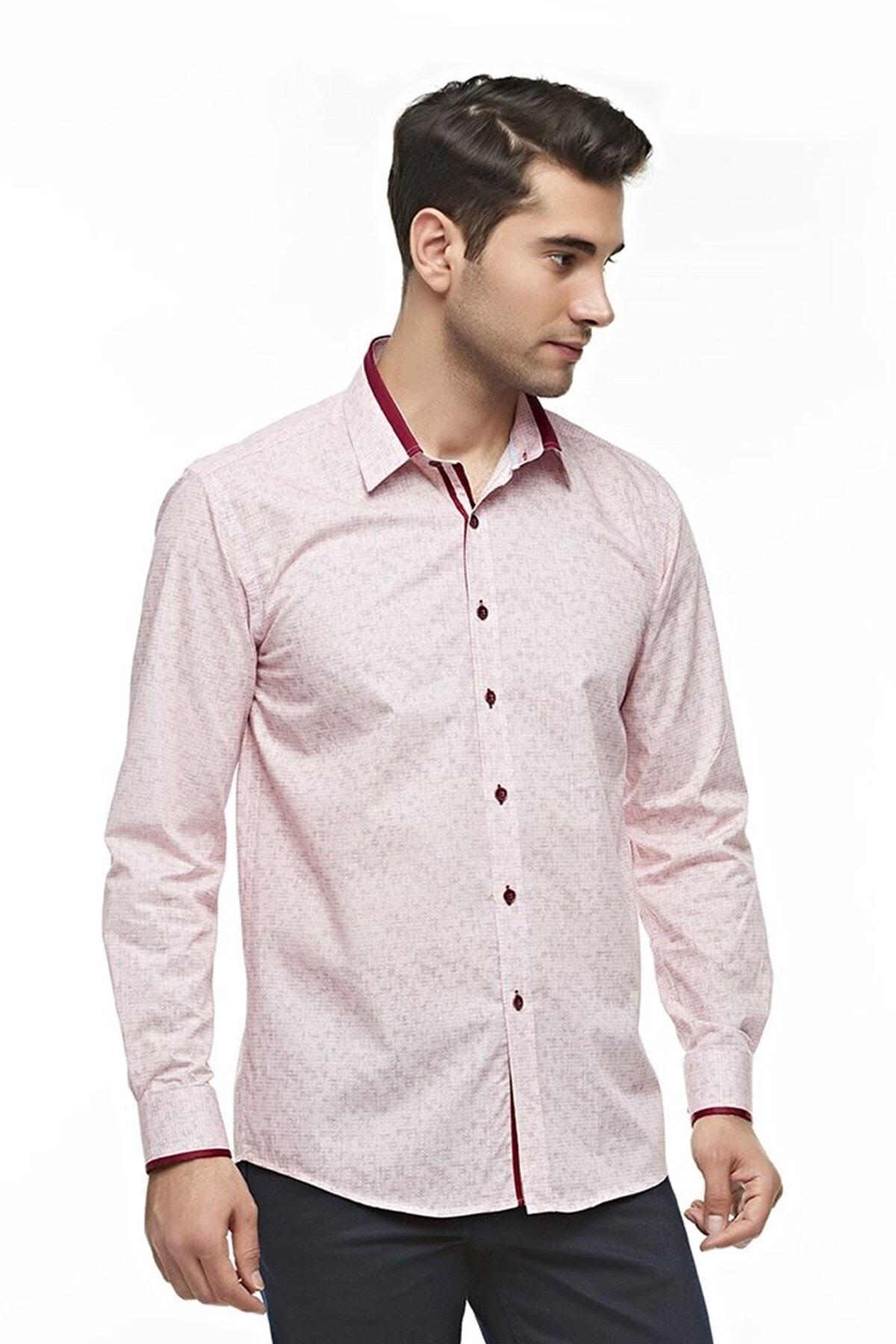 Ottomoda Uzun Kollu Geometrik Desenli Erkek Gömlek Kırmızı-bej 1