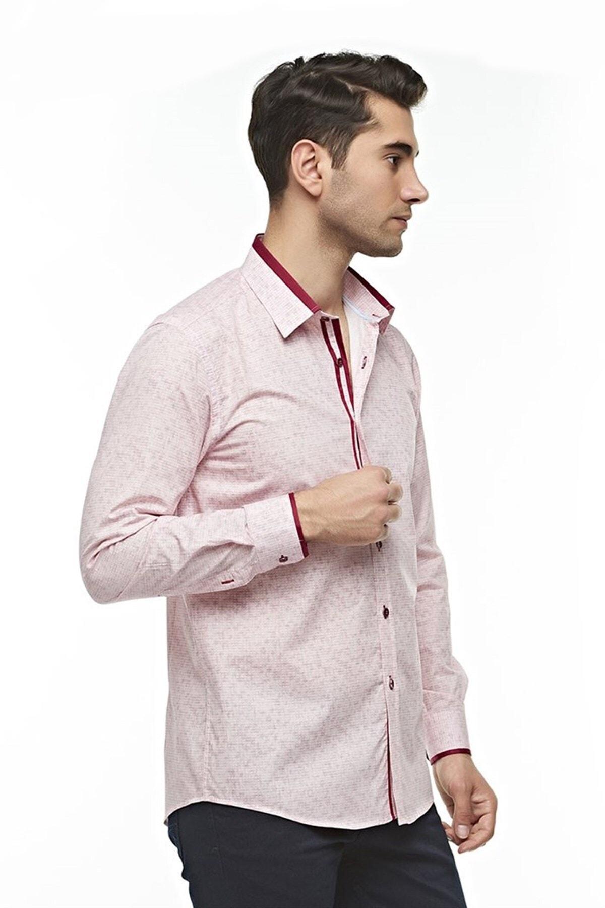 Ottomoda Uzun Kollu Geometrik Desenli Erkek Gömlek Kırmızı-bej 2