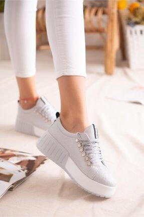 Limoya Kadın Gümüş Simli Bağcıklı Yüksek Tabanlı Casual Sneakers