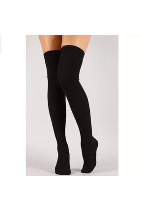 Cindiy Siyah Diz Üstü Şık Parfümlü Çorap