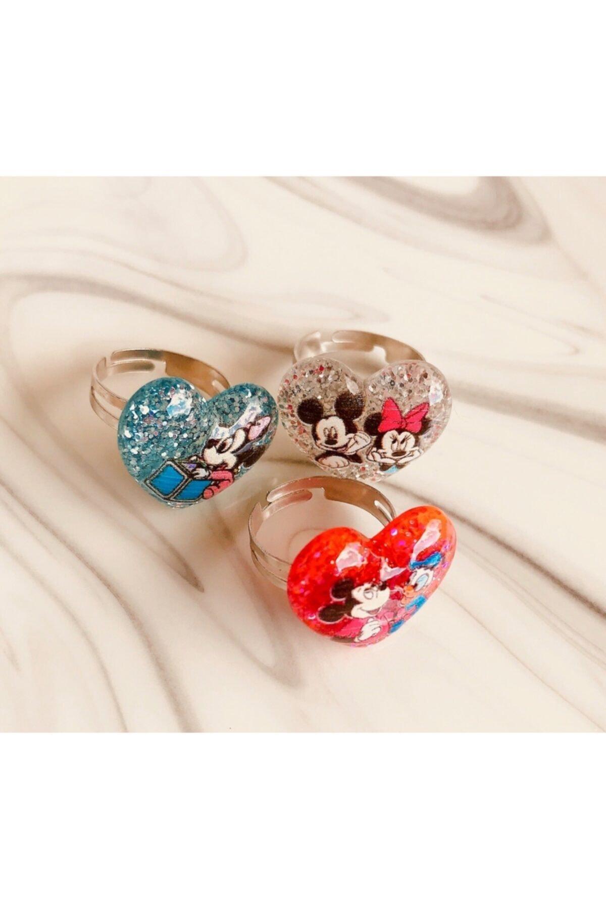 Yeşim Aksesuar Mini Mouse Ayarlanabilir Çocuk Yüzük (3 Adet)/ Mickey Mouse Çocuk Yüzüğü 1
