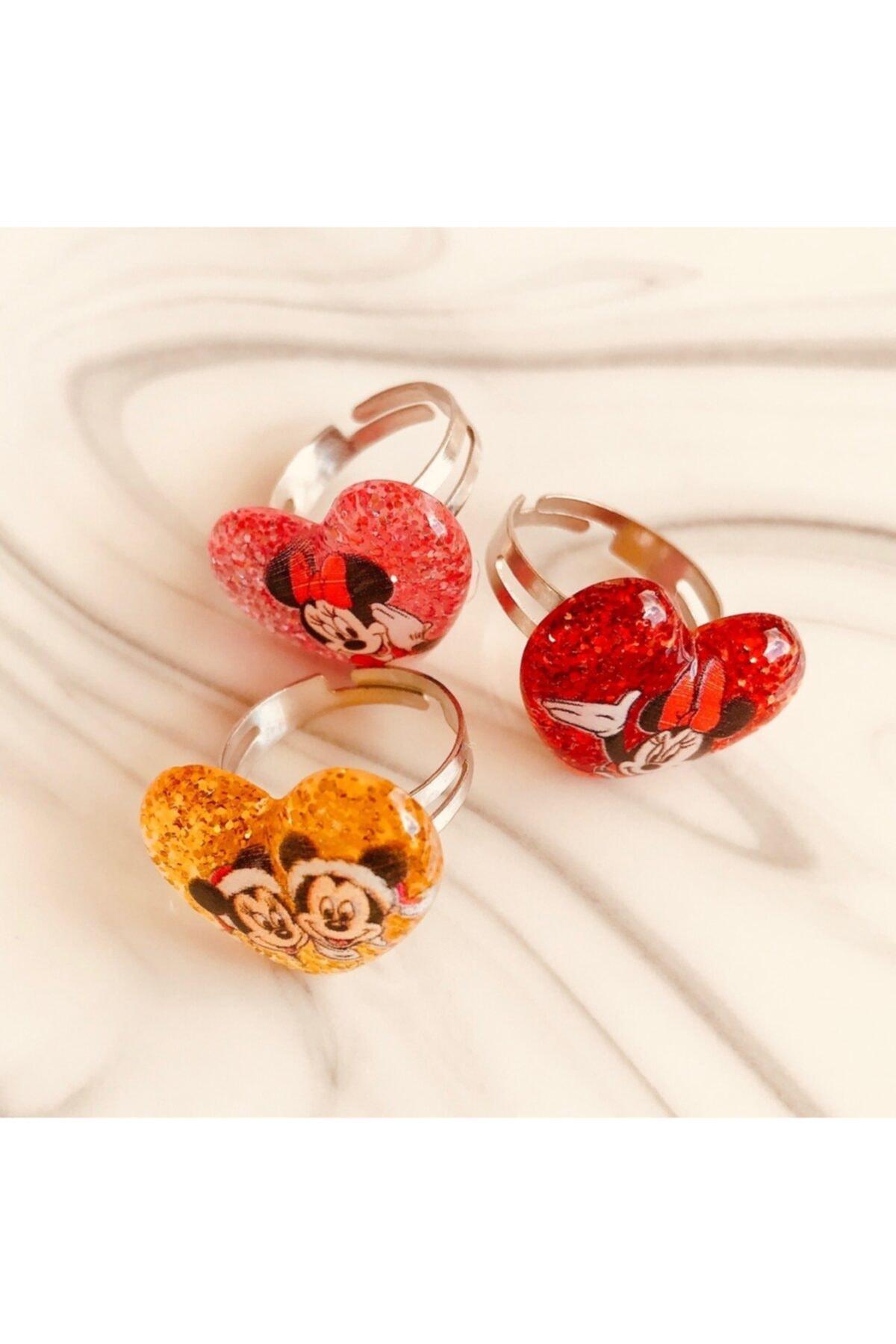 Yeşim Aksesuar Mini Mouse Ayarlanabilir Çocuk Yüzük (3 Adet)/ Mickey Mouse Çocuk Yüzüğü 2