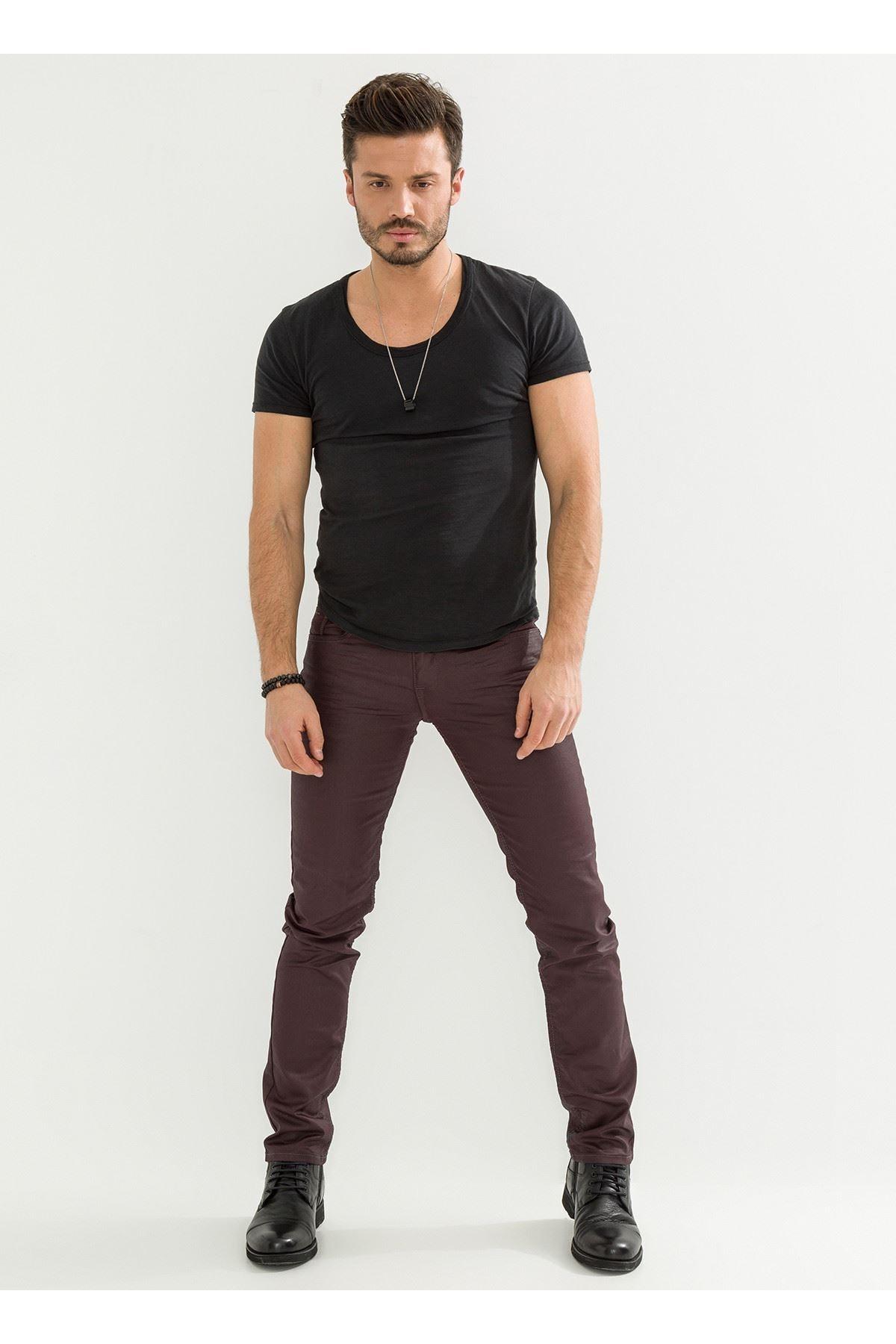 LTC Jeans Deri Görünüm Özel Kaplamalı Bordo Erkek Pantolon 2
