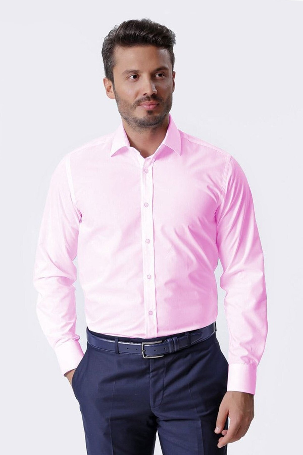 Ottomoda Uzun Kollu Klasik Erkek Gömlek Pink 1