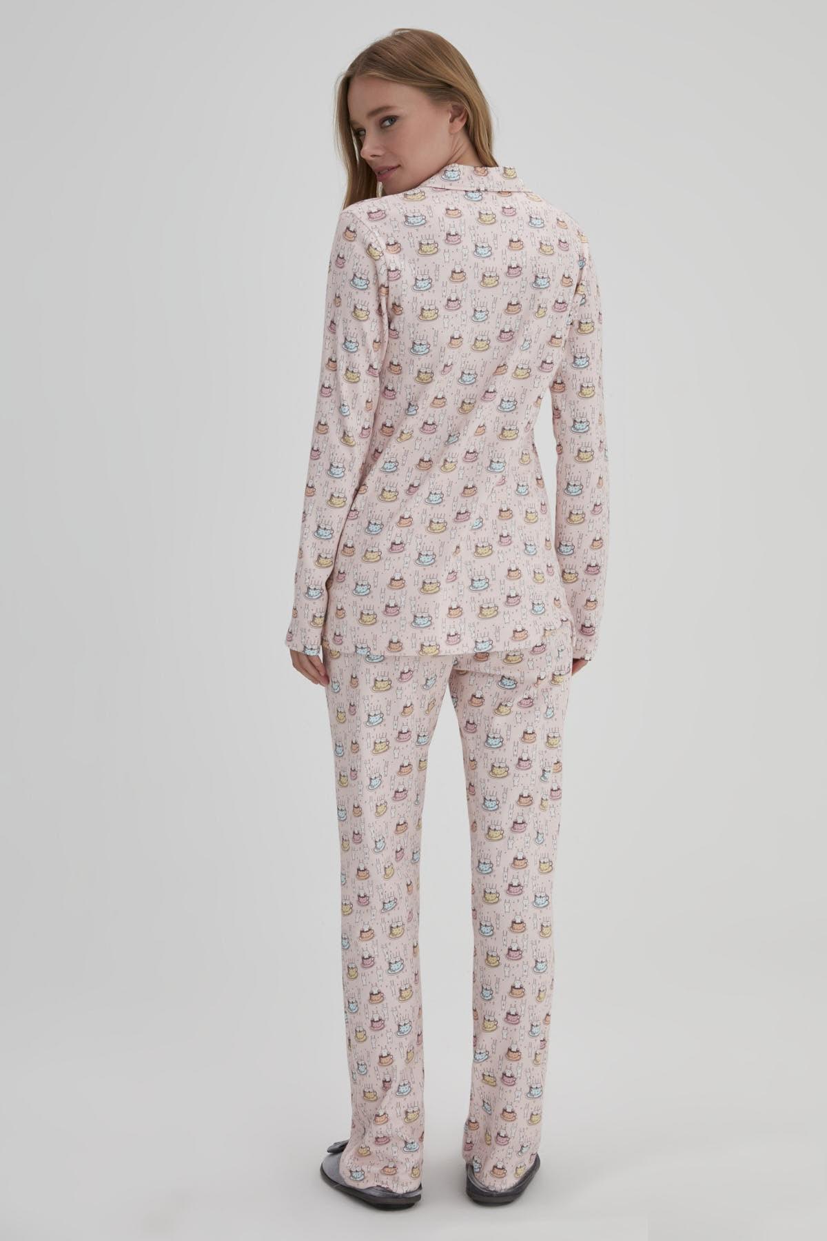 Dagi Pembe Kadın Tavşan Baskılı Gömlek Pijama Takımı 2