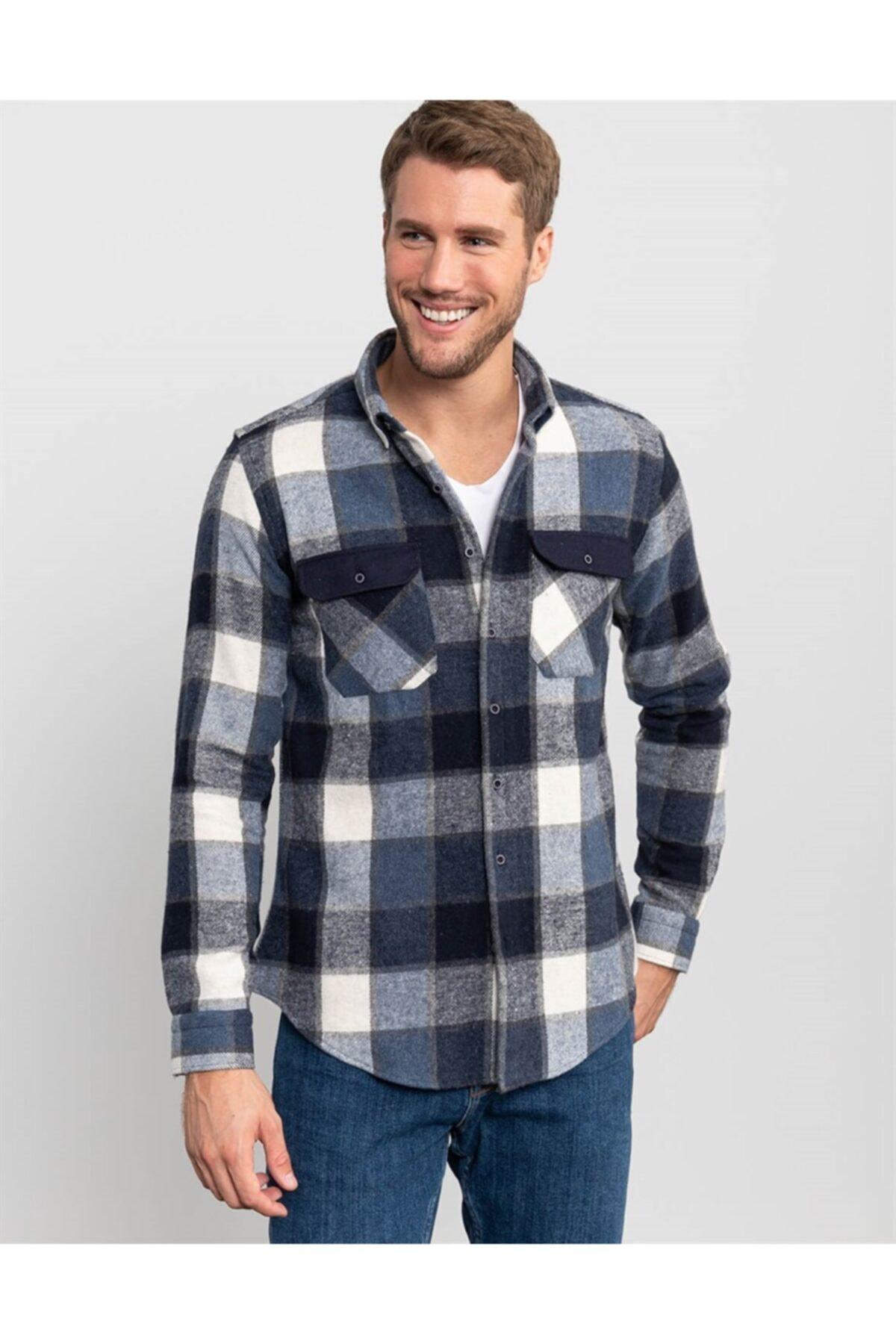 Tudors Slim Fit Unisex Kışlık Mavi Kareli Gömlek 1