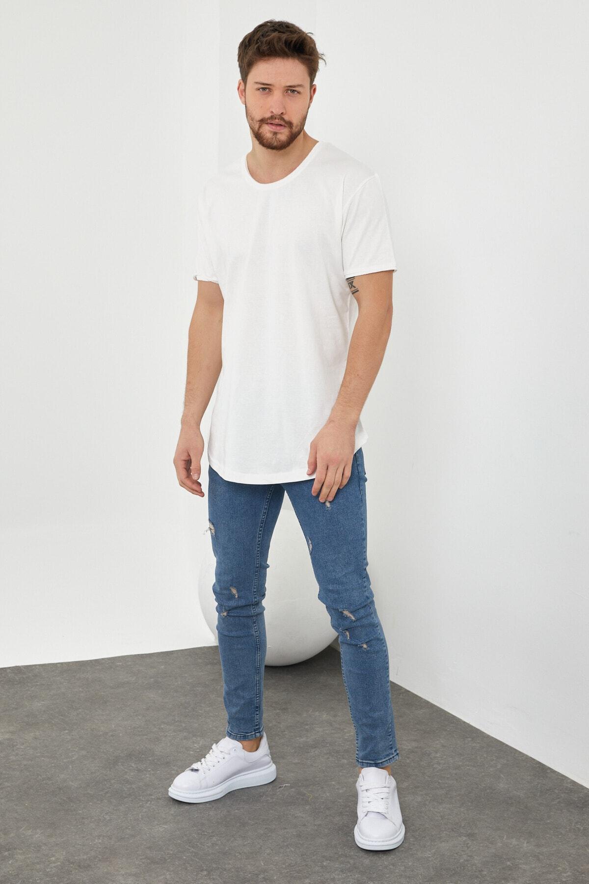 Tarz Cool Erkek Kırık Beyaz Pis Yaka Salaş T-shirt-tcps001r56s 2