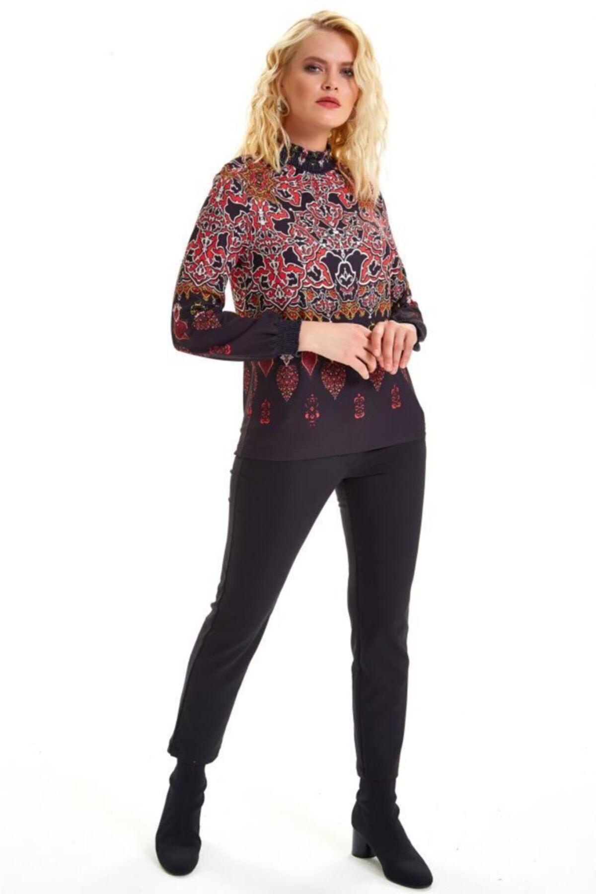 İKİLER Yakası Ve Kolları Lastikli Desenli Bluz 201-1019 2