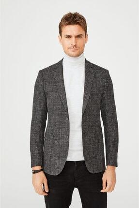 Avva Erkek Siyah Mono Yaka Desenli Slim Fit Cebi Kapaklı Ceket A02y4047