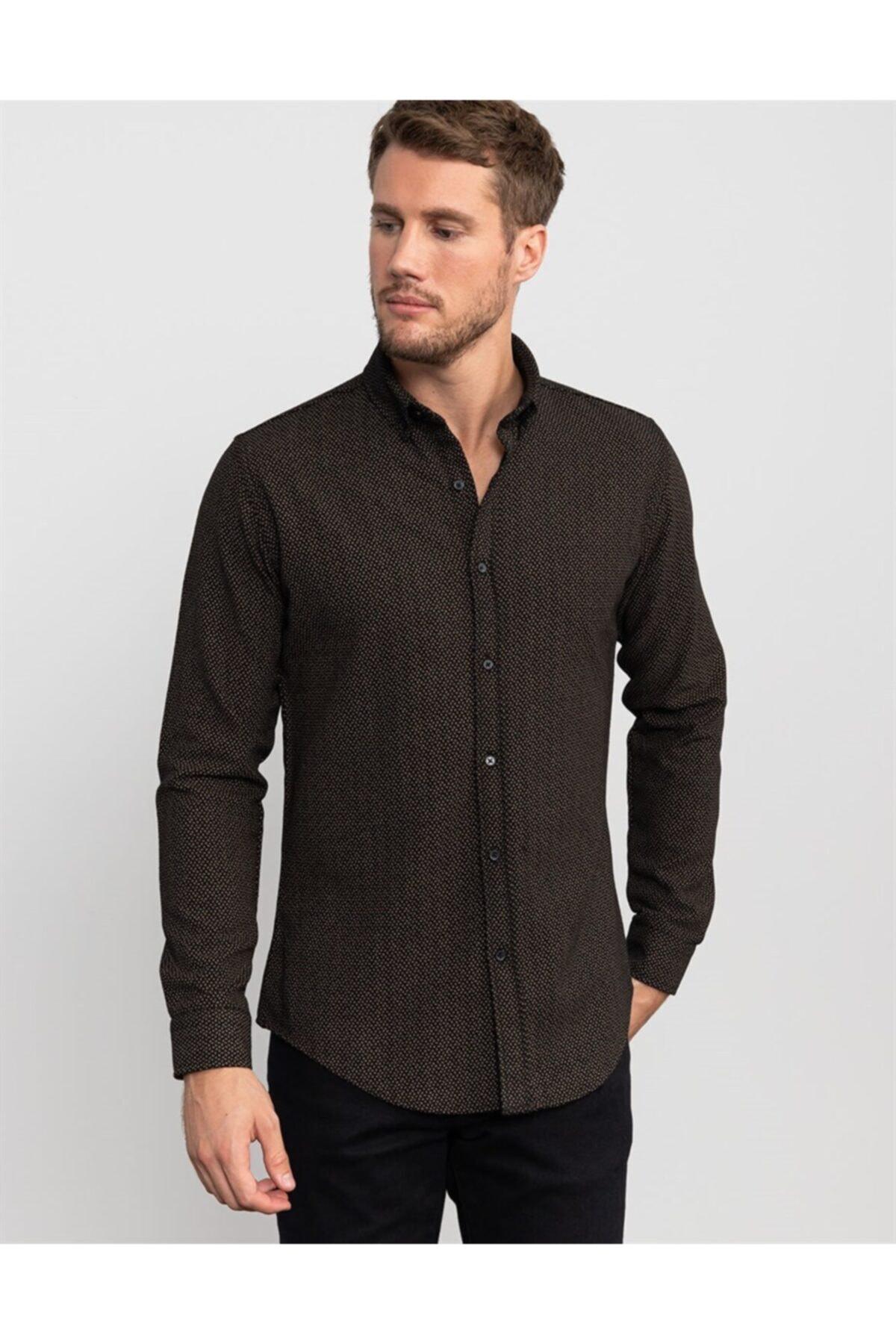 Tudors Slim Fit Baskılı Kışlık Erkek Gömlek 2