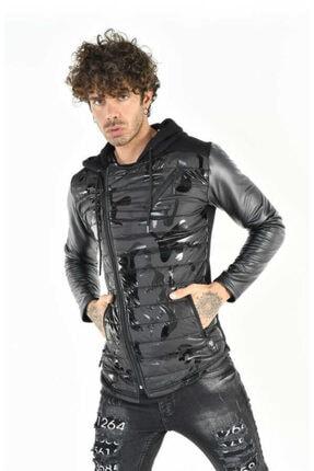 DAVID&GERENZO Deri Kol Detay Kamuflaj Kapitone Fermuarlı Siyah Sweatshirt