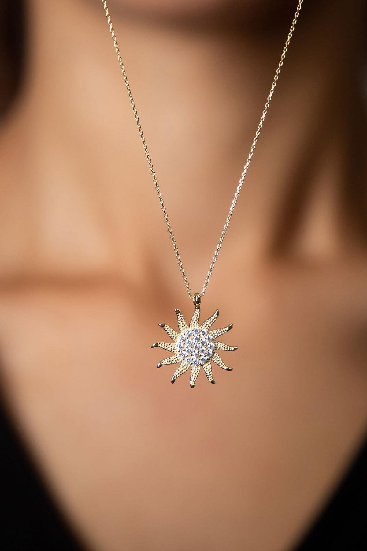 Papatya Silver 925 Ayar Altın Kaplama Zirkon Taşlı Gümüş Güneş Kolye 2