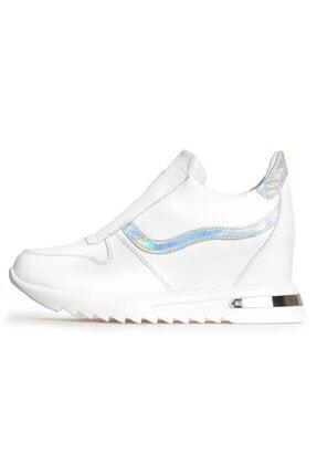 Flower Beyaz Deri Kombin Gizli Topuklu Kadın Ayakkabı