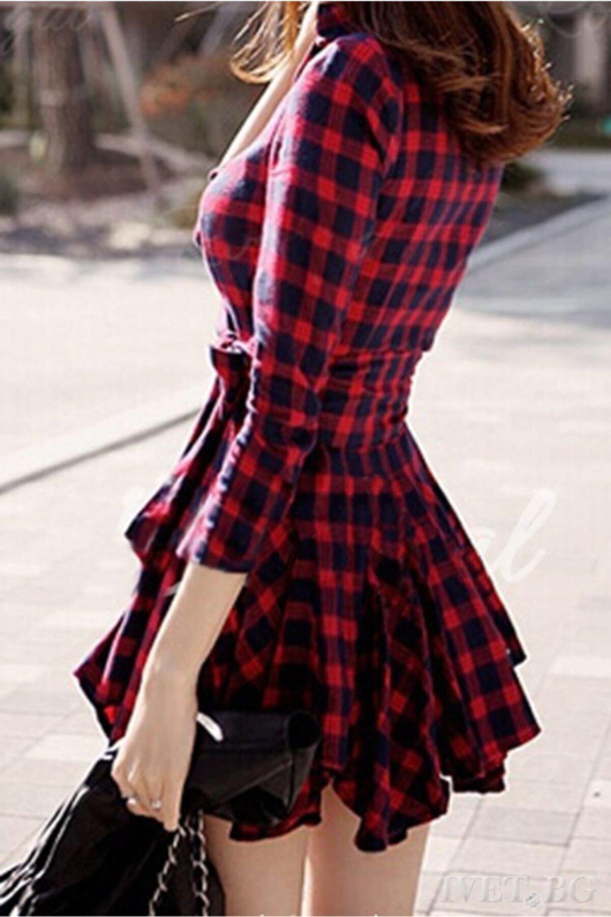 lovebox Kadın Ekose Desenli Kırmızı Tunik Gömlek Elbise 2