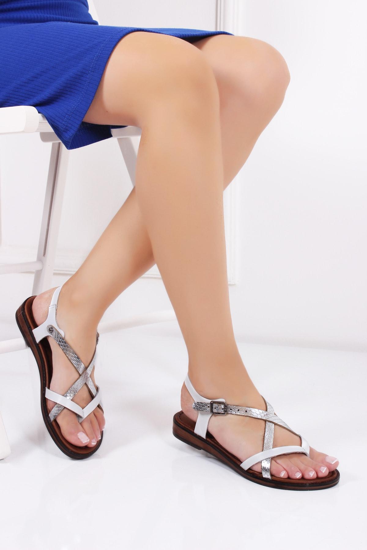 Deripabuc Hakiki Deri Twinkle-2 Kadın Deri Sandalet Dp-0071 1