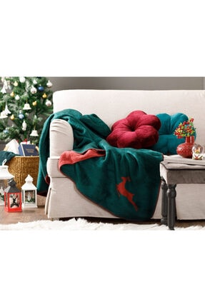 English Home Chic Akrilik Tv Battaniye 130x170 Cm Yeşil-kırmızı