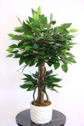Yapay Çiçek Deposu Beton Saksıda Mini Benjamin Ağacı 75 Cm