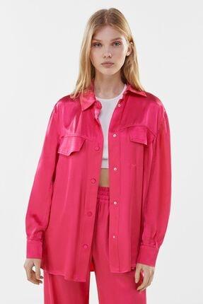Bershka Kadın Pembe Saten İnce Ceket