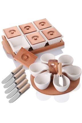 Queen's Kitchen Eniyisienyenisi Ahşaplı Lüx Kahvaltı Sunum Seti