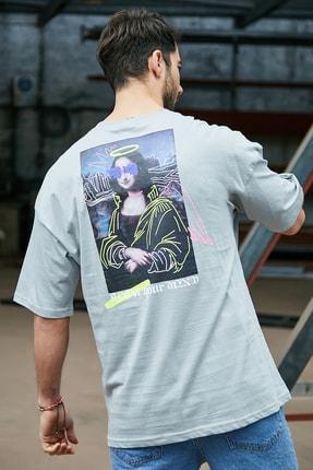 Sateen Men Erkek Açik Haki Baskılı T-Shirt