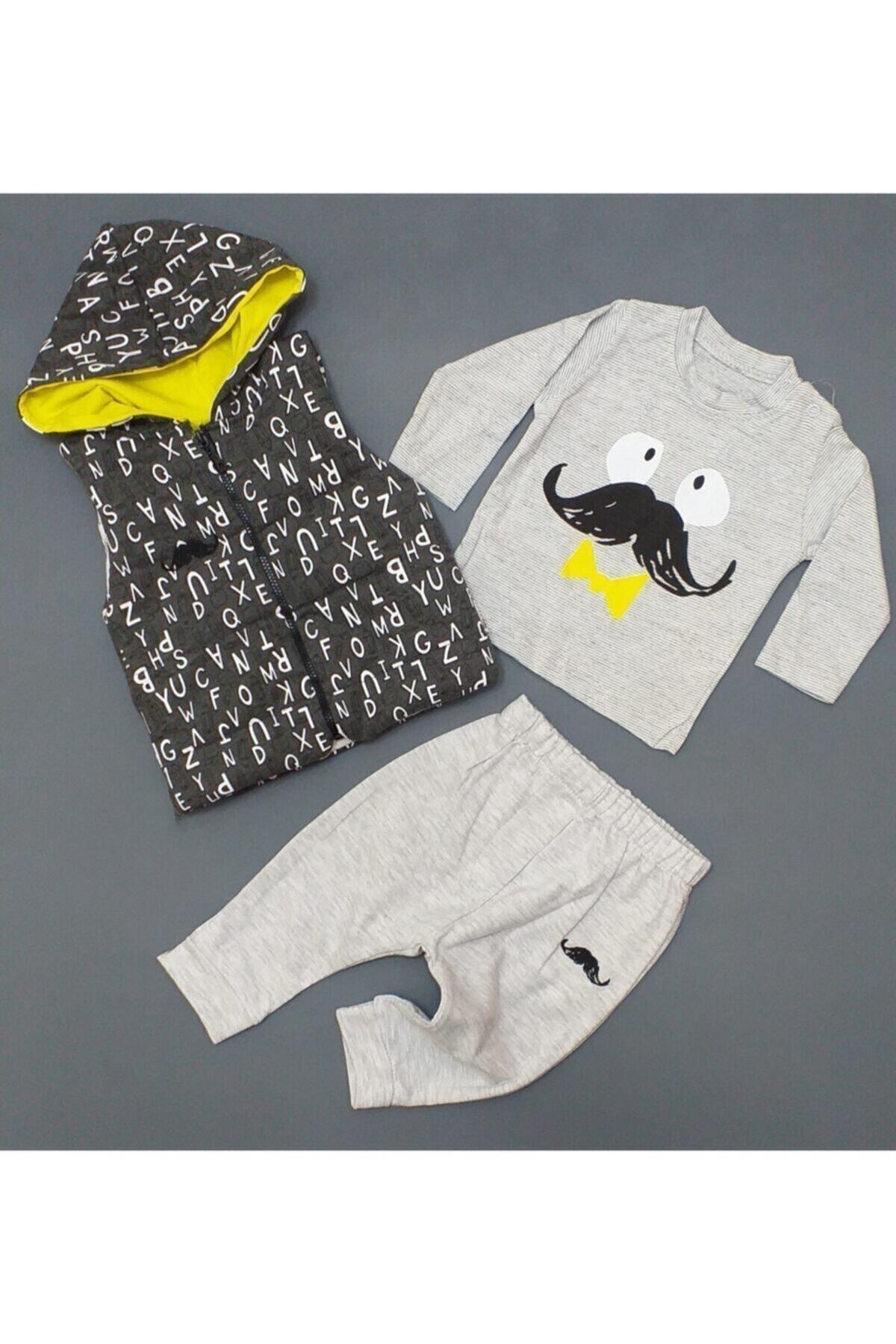 Hippil Erkek Bebek Gri 3 Parça Yelekli Takım ,hıppıl Baby %100 Pamuk Ürün 2