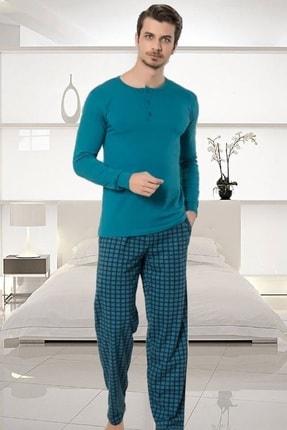 Aydoğan Erkek Mavi Uzun Kol Modal Pijama Takımı